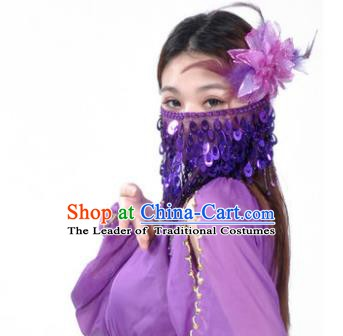 Indian Belly Dance Accessories Purple Paillette Yashmak India Traditional Dance Mask Veil for for Women