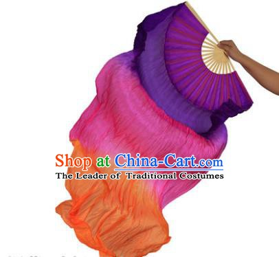 China Folk Dance Three-colour Folding Fans Yanko Dance Silk Fans for for Women