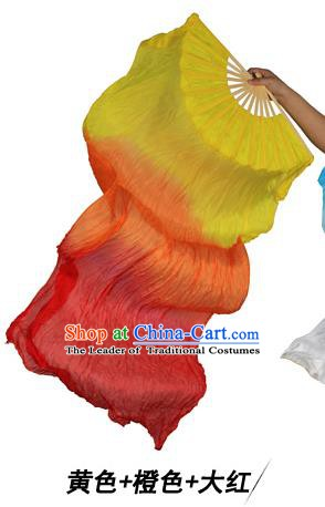 China Folk Dance Three-colour Folding Fans Yanko Dance Yellow Silk Fans for for Women
