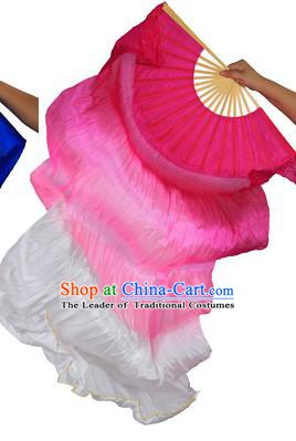 China Folk Dance Three-colour Folding Fans Yanko Dance Rosy Silk Fans for for Women