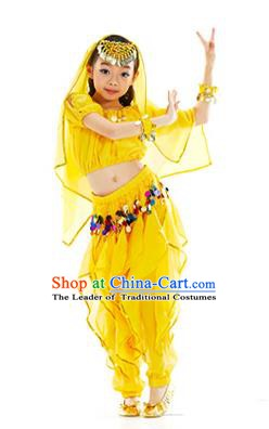 50bb551364 Top Indian Belly Dance Yellow Costume Oriental Dance Stage Performance  Clothing for Kids