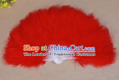 China Folk Dance Folding Fans Yanko Dance Red Feather Fans for Women