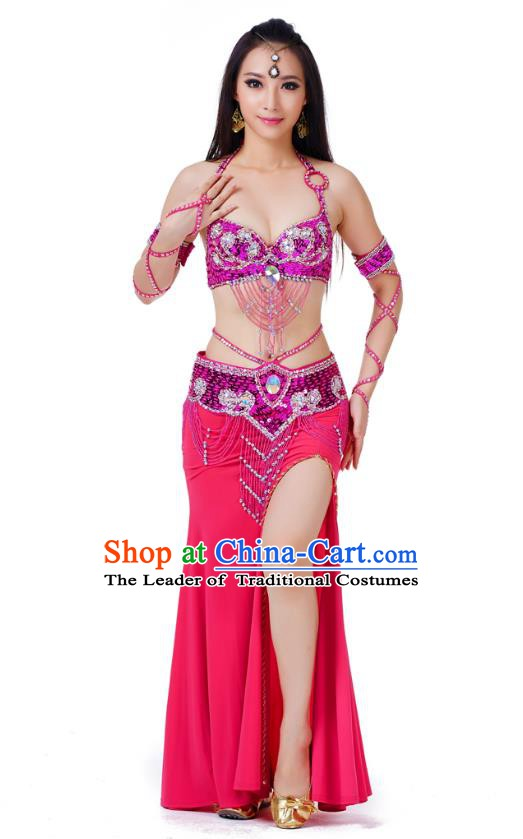 Indian Traditional Belly Dance Rosy Dress Asian India Sexy Oriental Dance Costume for Women