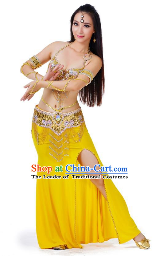 Indian Traditional Belly Dance Yellow Dress Asian India Sexy Oriental Dance Costume for Women