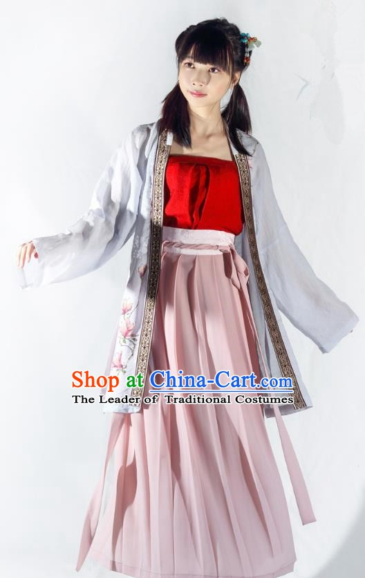 China Ancient Costume Song Dynasty Young Lady Hanfu Clothing for Women