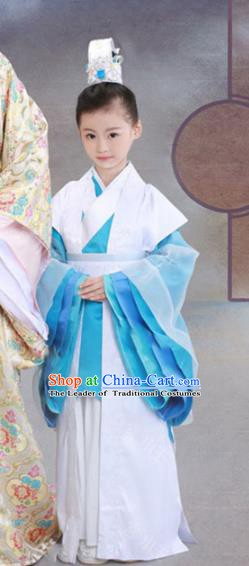 Traditional Chinese Han Dynasty Royal Highness Clothing, Ancient Nobility Prince Costume and Headwear for Kids