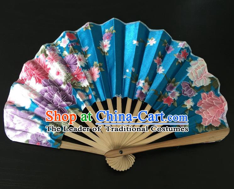 Asian Traditional Folding Fans Kimono Printing Blue Satin Fans Dance Fan for Women