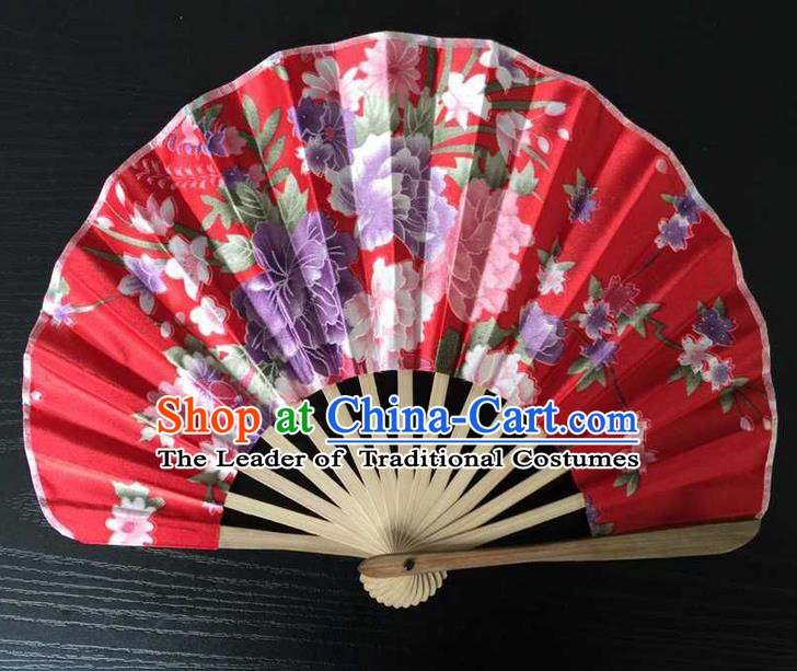 Asian Traditional Folding Fans Kimono Printing Red Satin Fans Dance Fan for Women