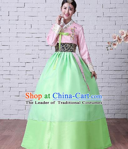 Asian Korean Dance Costumes Traditional Korean Hanbok Clothing Embroidered Pink Blouse and Green Dress for Women