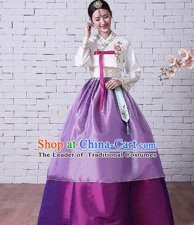 Asian Korean Dance Costumes Traditional Korean Hanbok Clothing Embroidered White Blouse and Purple Dress for Women