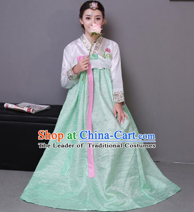 Asian Korean Dance Costumes Traditional Korean Hanbok Clothing Wedding White Blouse and Green Dress for Women