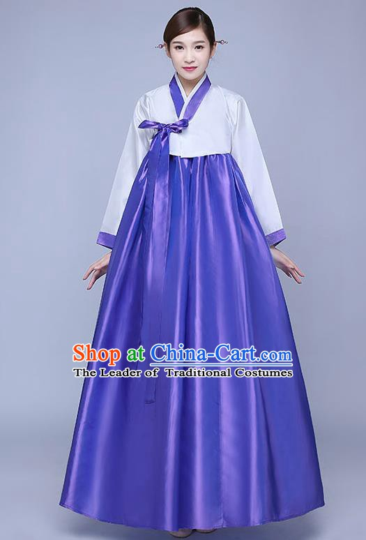 Asian Korean Dance Costumes Traditional Korean Hanbok Clothing Wedding White Blouse and Purple Dress for Women
