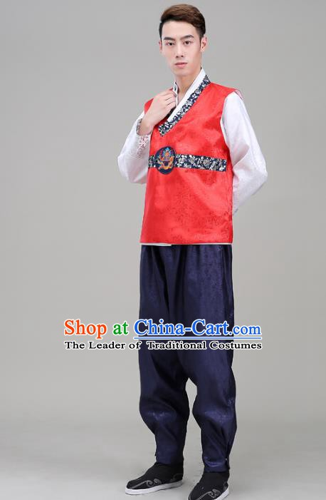 Asian Korean Court Dance Red Costumes Traditional Korean Hanbok Wedding Bridegroom Clothing for Men