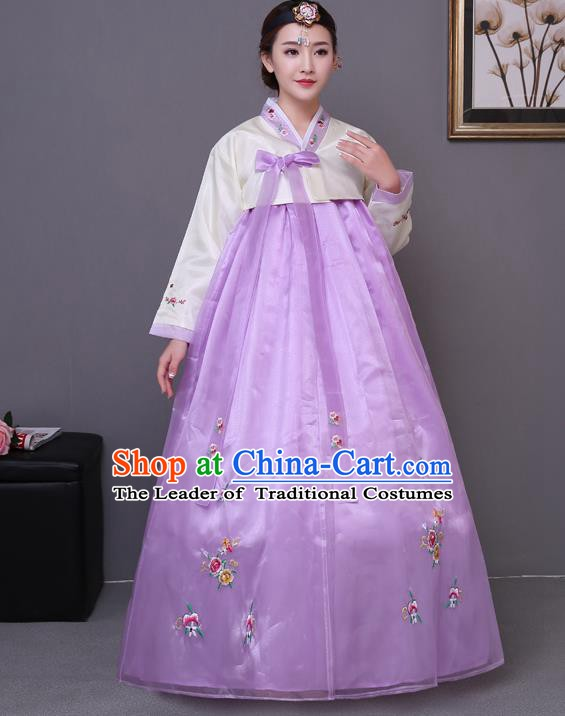 Asian Korean Court Costumes Traditional Korean Bride Hanbok Clothing White Blouse and Purple Dress for Women