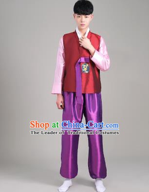 Asian Korean Palace Costumes Traditional Korean Bridegroom Wine Red Hanbok Clothing for Men