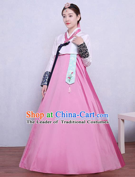 Asian Korean Dance Costumes Traditional Korean Dress Hanbok Clothing White Blouse and Pink Skirt for Women