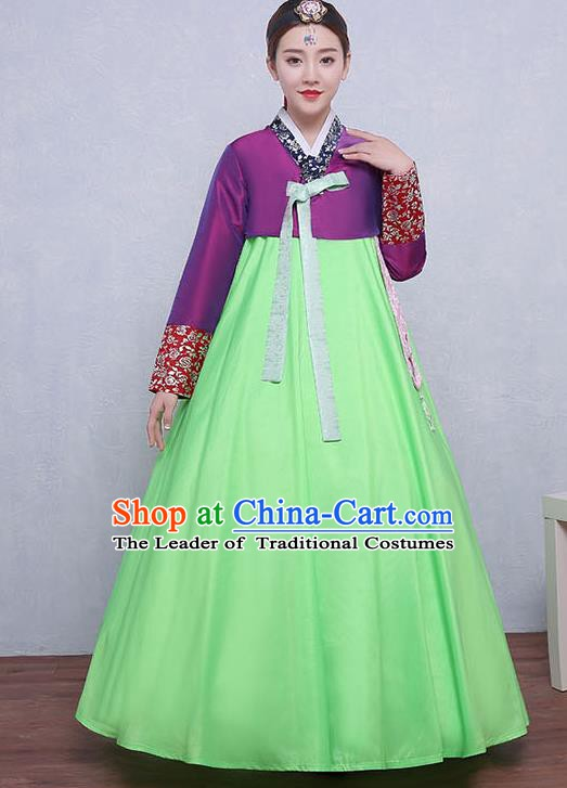 Asian Korean Dance Costumes Traditional Korean Dress Hanbok Clothing Purple Blouse and Green Skirt for Women