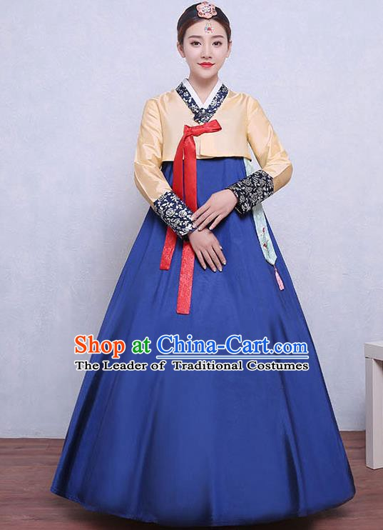 Asian Korean Dance Costumes Traditional Korean Dress Hanbok Clothing Yellow Blouse and Navy Skirt for Women
