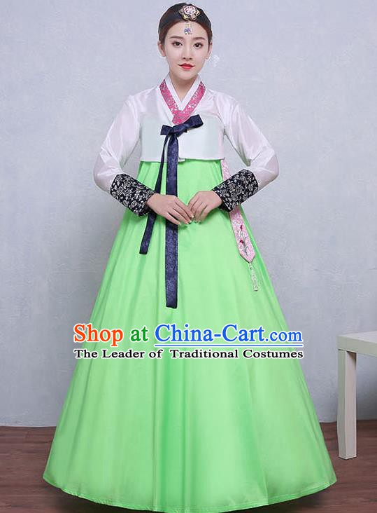 Asian Korean Dance Costumes Traditional Korean Hanbok Clothing White Blouse and Green Dress for Women