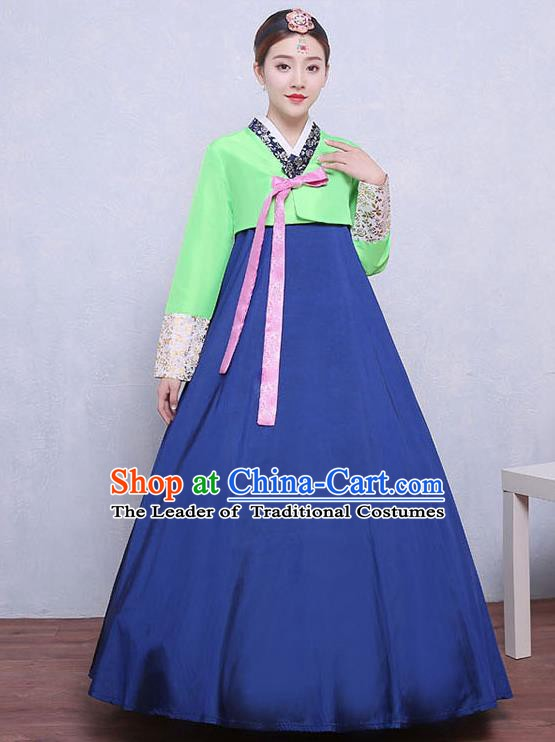 Asian Korean Dance Costumes Traditional Korean Hanbok Clothing Green Blouse and Navy Dress for Women