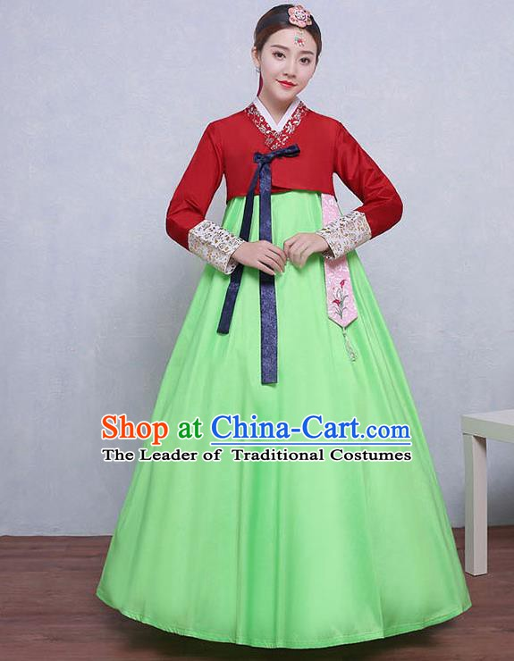 Asian Korean Dance Costumes Traditional Korean Hanbok Clothing Red Blouse and Green Dress for Women