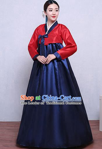 Asian Korean Dance Costumes Traditional Korean Hanbok Clothing Red Blouse and Navy Dress for Women
