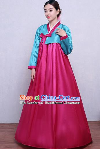 Asian Korean Dance Costumes Traditional Korean Hanbok Clothing Blue Blouse and Rosy Dress for Women
