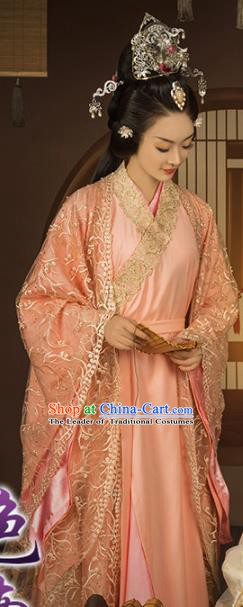 Chinese Traditional Han Dynasty Imperial Consort Clothing, China Ancient Palace Lady Costume and Headpiece Complete Set