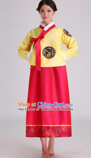 Asian Korean Palace Costumes Traditional Korean Bride Hanbok Clothing Yellow Blouse and Red Dress for Women
