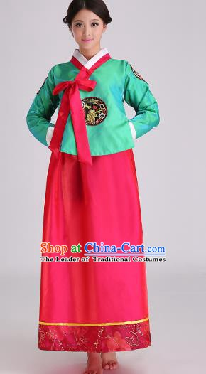 Asian Korean Palace Costumes Traditional Korean Bride Hanbok Clothing Green Blouse and Red Dress for Women