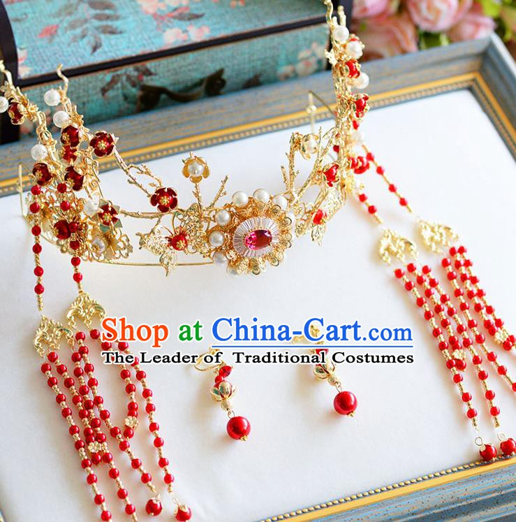 Chinese Handmade Classical Wedding Hair Accessories Ancient Phoenix Coronet Hairpins Headdress for Women