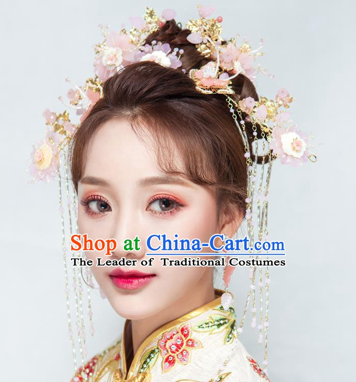 Chinese Handmade Classical Wedding Hair Accessories Ancient Xiuhe Suits Pink Flowers Phoenix Coronet Hairpins for Women