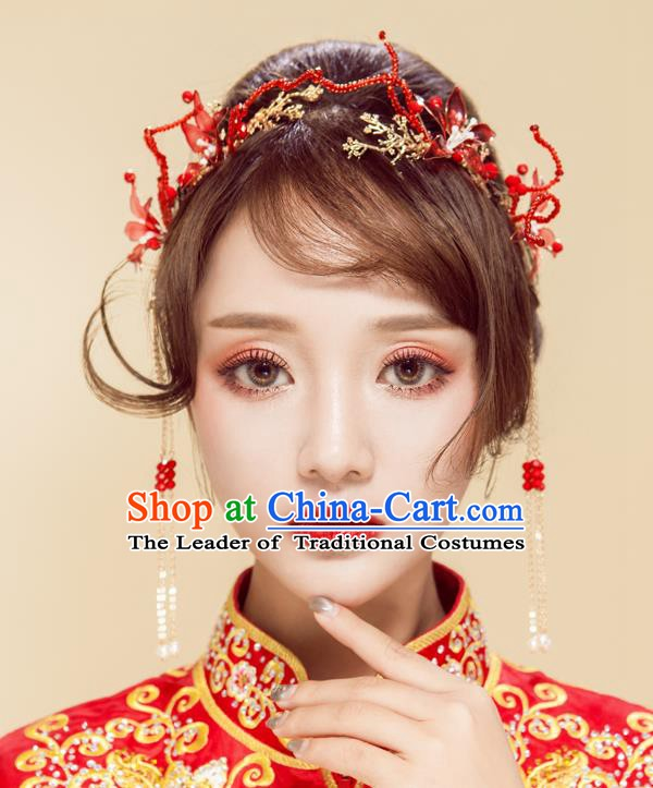 Chinese Handmade Classical Wedding Hair Accessories Ancient Xiuhe Suits Red Hairpins for Women