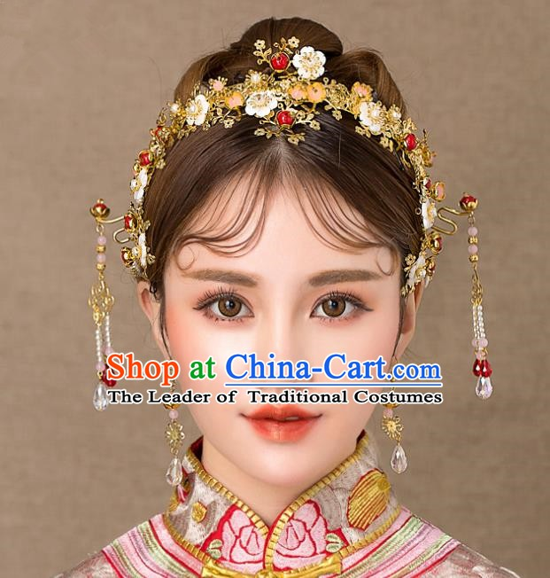 Chinese Handmade Classical Wedding Hair Accessories Ancient Shell Flowers Phoenix Coronet Hairpins Headdress for Women