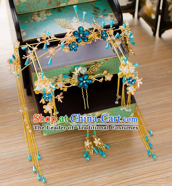 Chinese Handmade Classical Wedding Hair Accessories Ancient Blue Crystal Phoenix Coronet Hairpins Headdress for Women