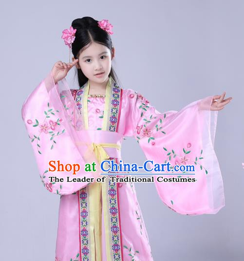 Traditional Chinese Tang Dynasty Imperial Concubine Embroidered Costume, China Ancient Princess Dress for Kids