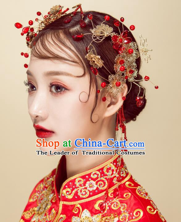Chinese Handmade Classical Wedding Hair Accessories Ancient Red Beads Hair Stick Hairpins Headdress for Women