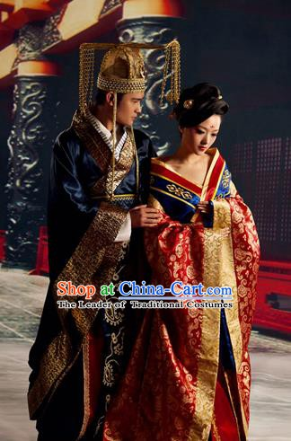 Traditional Chinese Ancient Imperial Emperor and Empress Embroidered Costume Complete Set
