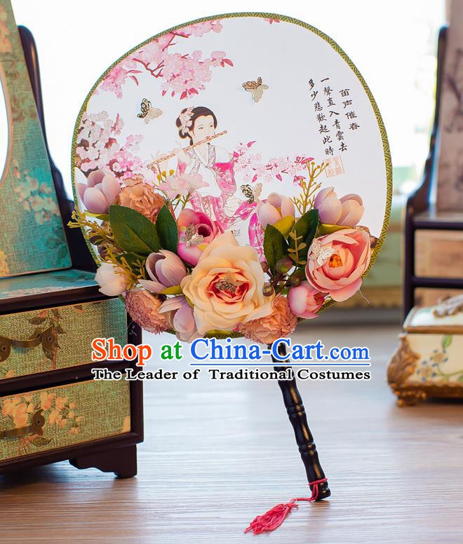 Chinese Handmade Classical Palace Fans Ancient Wedding Round Fans for Women