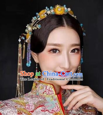 Chinese Handmade Classical Hair Accessories Ancient Palace Hairpins Tassel Hair Clasp Complete Set for Women