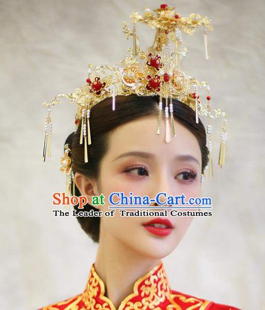 Chinese Handmade Classical Hair Accessories Ancient Palace Phoenix Coronet Hairpins for Women