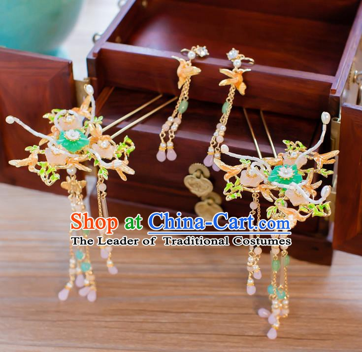 Chinese Handmade Classical Hair Accessories Ancient Bride Beads Tassel Hairpins Step Shake for Women