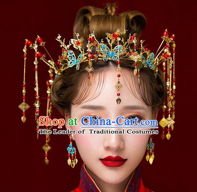 Chinese Handmade Classical Hair Accessories Ancient Palace Blueing Phoenix Coronet Hairpins Complete Set for Women