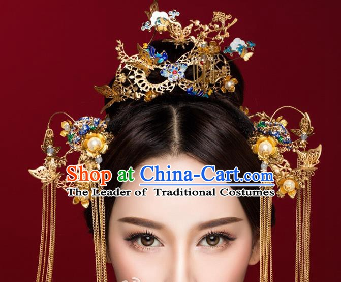 Chinese Handmade Classical Hair Accessories Ancient Palace Cloisonne Phoenix Coronet Hairpins Complete Set for Women