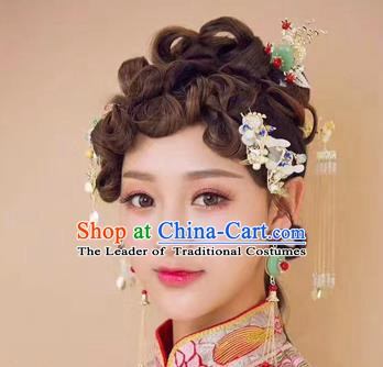 Chinese Handmade Classical Hair Accessories Ancient Palace Tassel Hairpins Step Shake Complete Set for Women