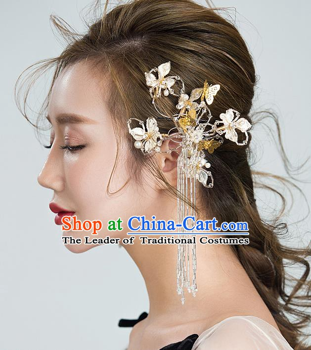 Handmade Classical Wedding Accessories Bride Tassel Butterfly Crystal Earrings for Women