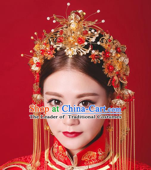 Chinese Handmade Classical Hair Accessories Ancient Xiuhe Suit Hair Clasp Tassel Hairpins for Women