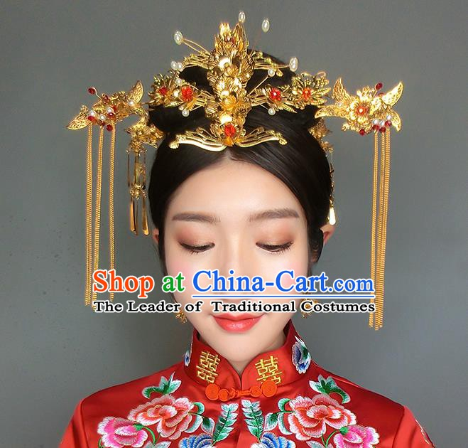 Chinese Handmade Classical Hair Accessories Ancient Xiuhe Suit Golden Hair Clip Tassel Hairpins for Women