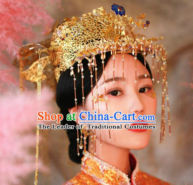 Chinese Handmade Classical Hair Accessories Xiuhe Suit Golden Phoenix Coronet Tassel Hairpins for Women