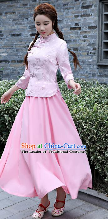 Traditional Republic of China Nobility Lady Costume Embroidered Cheongsam Blouse and Skirts for Women